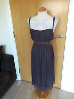 Ladies JOHN ROCHA Dress Size 16 Slate Grey Chiffon Party Evening Wedding Races