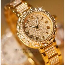 Fashion Women Shiny Rhinestone Stainless Steel Dial Analog Quartz Wrist Watches