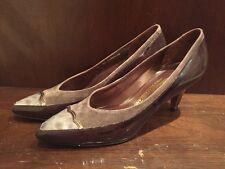 Vintage Bally Switzerland Braid Brown Leather Designer Heels Pumps 7AA Sz 7