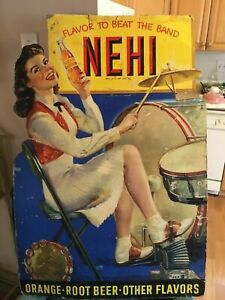 c.1940-50s NEHI Beverage diecut PINUP Cardboard Lithograph Cola Soda sign RARE