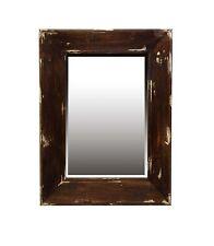 RUSTIC MIRROR  Distressed Timber Cream Paint 78cm x 58cm Beveled Glass
