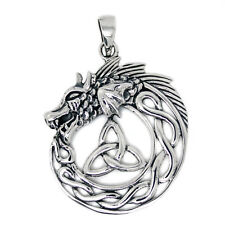 Solid Sterling Silver Wolf Wolves Heart Triquetra Pagan Pendant (P038) 6bBmlS6i4