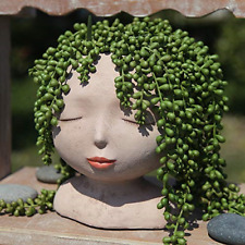 YIKUSH Female Head Design Succulents Plant Pot with Drainage Hole/Cactus Planter