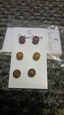 3 pairs Shining 10mm Disco Bead Ball Pave Earrings jewelry