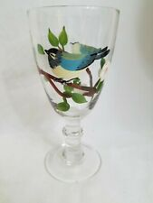 16 oz Goblet hand painted Dogwood tree with bluebird. 8 inches high