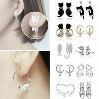 Fashion Women Girls 925 Silver Sterling Earrings Cute Cat Ear Studs Jewelry Gift