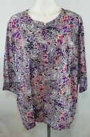 Tantrum's Women's Pullover Blouse Plum Colored Paisley Print 3/4 Sleeves Size 2X