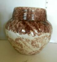 """Vintage Conder USA Pottery Cookie Jar No Lid Glazed Yellow And Brown  8"""""""