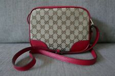 Sale! New Auth Gucci GG Monogram Canvas Bree Mini Messenger Bag Red