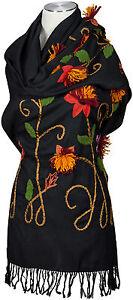Pashmina Schal hand bestickt 100% Wolle wool hand embroidered stole écharpe
