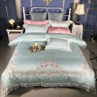 5Pcs Lace Egyptian Cotton Luxury Bedding Set Bed Set Embroidery Duvet Cover