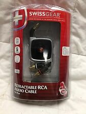 SwissGear Retractable RCA Audio Cable for iPod Stereo AV Retractable Cable TV