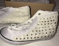 BRAND NEW Marina Distressed White Glitter/Studs High Top Canvas Boot. UK Size 7