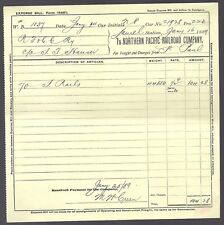 NORTHERN PACIFIC RAILROAD COMPANY expense bill 1889 ANTIQUE MUSEUM WESTERN