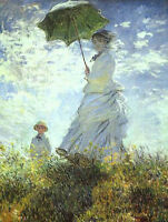 Dream-art Oil painting lady in landscape - woman-with-a-parasol-claude-monet