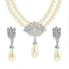 Cream White Pearls Ladies Bridal Jewellery Vintage Style Earrings Necklace
