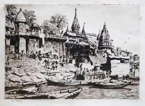 SIR LIONEL LINDSAY (1874-1961) RARE Original Etching India 1930 Norman Lindsay