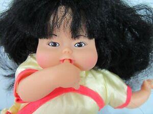 "Vintage 8"" Asian Baby Doll - Vinyl & Cloth - Thumb Sucking wearing Yellow Kimono"