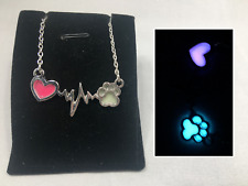 PET Love Heartbeat GLOW IN THE DARK Paw Print Heart Silver Charm Necklace