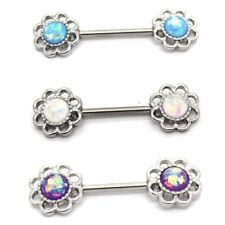 Filigree Synthetic Opal Flower Nipple Bar Barbell -Surgical Steel Body Jewellery