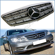 For 10 11 12 13 W221 Benz S350 S600 S63 4DR Front Grille 2 Fin Gloss Black Cover