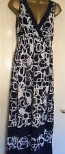 M&S Midi/maxi Dress Size 14 Navy & White Lovely Summer Wear Immaculate