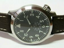 MARATAC STEEL BIG PILOT FLIEGER AUTOMATIC WATCH 46 MM MILITARY w/ 4 STRAPS