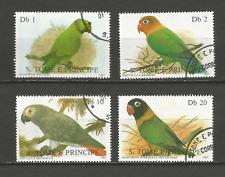 1987 perroquet Sao Tomé-et-Principe 4 timbres anciens oblitérés /T4369
