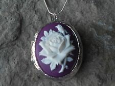 STUNNING WHITE ROSE ON PURPLE CAMEO LOCKET!!! --wedding-- gifts-- xmas
