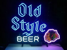 "Chicago Blackhawks Old Style Beer Neon Lamp Sign 20""x16"" Bar Light Windows Decor"