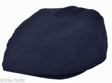 Navy Blue Classic Cotton Linen Flat Cap Light Weight Style Hats n Caps S to XXL
