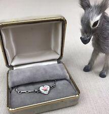 Sterling Silver Baby Bracelet & Guilloche Enamel Heart Vintage AEFCO Child's