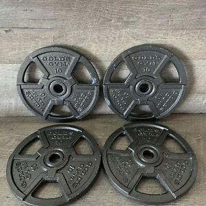 """Golds Gym 1"""" Standard Weight Plates (4) 10 Lb. 40 Pounds Total"""