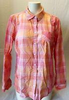 Tommy Hilfiger Pink Orange Plaid Button Down Women's Long Sleeve Shirt Size L