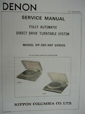 DENON DP-35F and DP-45F TURNTABLE SERVICE MANUAL 19 Pages