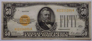 1928 $50 Gold Certificate ~ nice VF to Choice VF