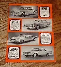 Original 1962 Dodge Lancer Dart Polara 500 Eight Eighty Brochure Postcard 62