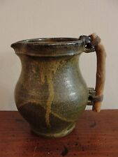 Joel Edwards American Studio Art Pottery Pitcher with Wood Handle