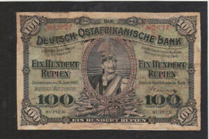 100 RUPIEN VG- BANKNOTE FROM GERMAN EAST AFRICA 1905 PICK-4 VERY RARE