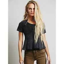FREE PEOPLE WE THE FREE WASHED BLACK SHORT SLEEVE DRIFTER PLEATED TEE TOP Sz S