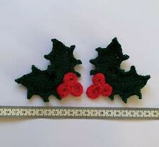 2 Pairs of Holly Leaves Crochet Applique/ Embellishment/ Motif/ Christmas Craft