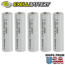 5x Exell LiFePO4 3.2V 500mAh Size AA 14500 Rechargeable Solar Battery USA SHIP