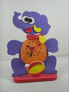 Eva Foam Purple Elephant Pendulum Clock Novelty Kids Play Room Accurate Time VGC