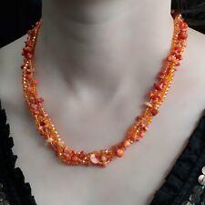 Ancient Wisdom Chipstone & Bead Necklace -ORANGE CORAL