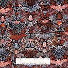 Halloween Fabric - Wicked Bat Skull Spider Damask Black  Timeless Treasures YARD
