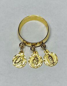"14 Karat Yellow Gold Catholic Saint Medals ""Anillo de Medallitas"" Ring"