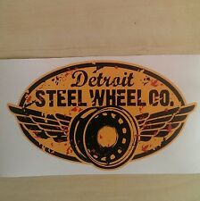 GENUINE DETROIT STEEL WHEEL MOBSTEEL YELLOW STICKER VINYL DECAL 15cm x 10cm