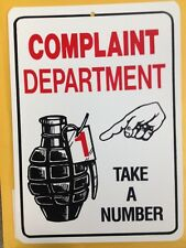 Complaint Department Funny Gift PVC  Street Sign bar man cave 8.5 * 12