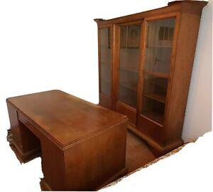 Bücherschrank, Schreibtisch, Sessel, Marmorgarnitur, Paul Michaud Lpz. ca. 1920