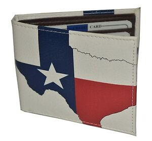 Leatherboss Men Bifold Exotic Wallet Texas Flag Map with printed gift box